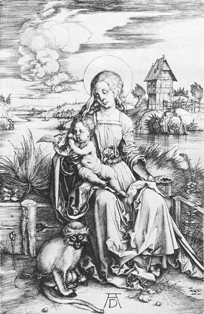 Engraving of Madonna with a Monkey